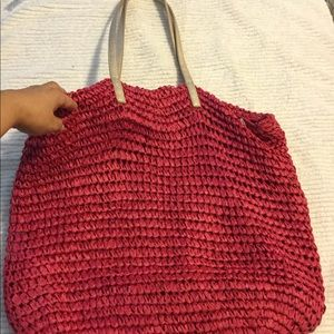 Woven Large Pink, straw bag, tote, gold handles